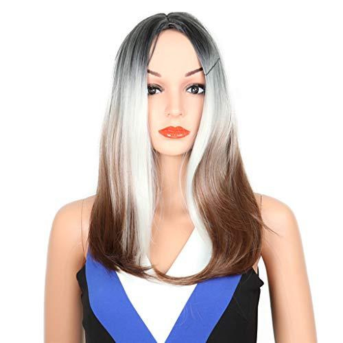 SHINAN Cosplay Mischfarbe Ombre Farbverlauf Kunsthaar Dame Anime Kostüm Mode Persönlichkeit Charme Salon Dekoration Hitzebeständigkeit (Salon Girl Kostüme)