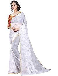 Krishna Adv Women's Chiffon Saree with Blouse Piece (White & Gold)