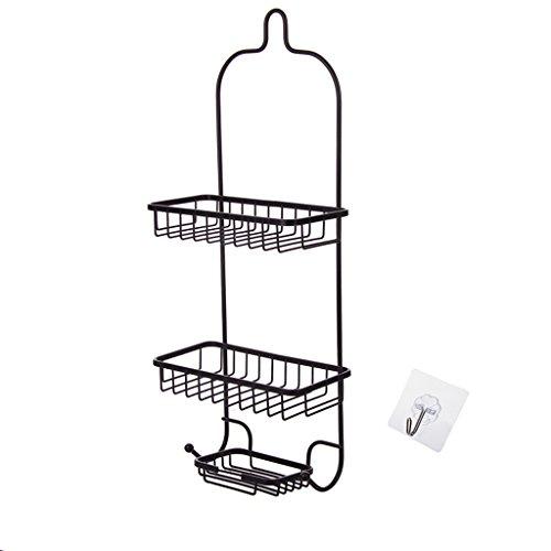 ZfgG Badezimmer Free Punch 3 Tier Regale, Badezimmer Schmiedeeisen Wandbehang Lagerregal, Küche mehrschichtigen dekorativen Rahmen Spind, schwarzer Ausschnitt Design 58,8 * 13,5 cm * 9 cm