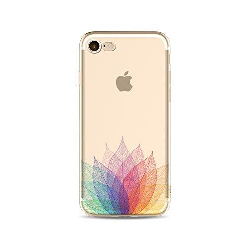 Coque iPhone 7 Housse étui-Case Transparent Liquid Crystal en TPU Silicone Clair,Protection Ultra Mince Premium,Coque Prime pour iPhone 7-Les feuilles-style 11 17