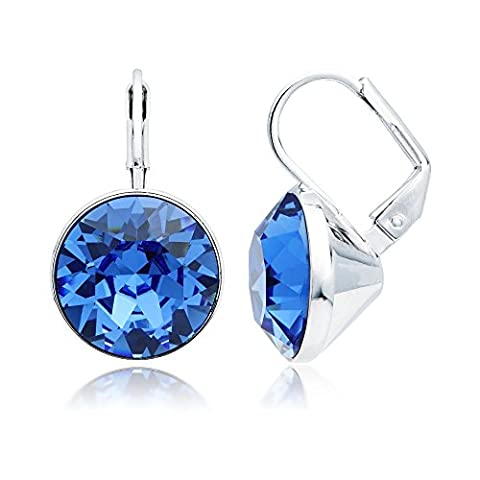 MYJS Bella Drop Earrings Rhodium Plated with Sapphire Swarovski Crystals Exclusive Limited Edition