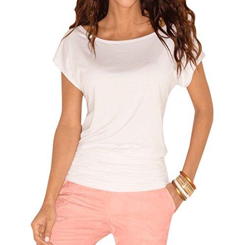 Nlife Damen Bluse Gr. US S, weiß (Top Short Pleated Neck Scoop Sleeve)