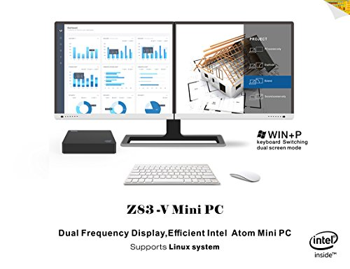 Mini PC Linux System - Maxesla Z83V Lüfterlos Desktop-Computer Dual Frequency Display, 32GB SSD, 2GB DDR3 RAM, Intel Atom x5-Z8350 Prozessor, 1000Mbps LAN, 2.4G+5.8G Wifi, Bluetooth 4.0