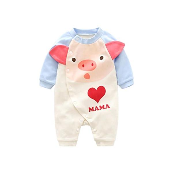 Mono de Bebe,Fossen Ropa Bebe Recién Nacido Bebé Mameluco deCerdo de Dibujos Animados Patrón Pijamas de Mangas largas… 1
