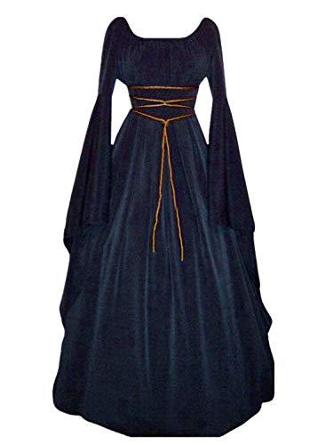 Mymyguoe Frauen Trompetenärmel Prinzessin Renaissance Bodenlanges Kleid Taille Trim Bandage Lace Stitching Mittelalter Kleidung Gothic Lang Maxi Kleid Hochzeit Christmas Kleid