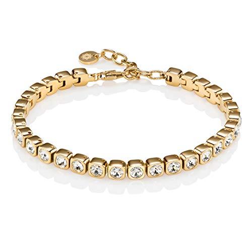 Namana Tennis-Armband in Gold für Damen. Edelstahlarmband mit Swarovski-Kristallen, 18 Karat vergoldet, Armkette für Sie mit Geschenkbox (19)