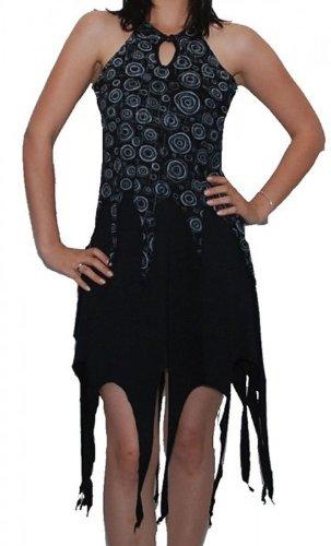 (Zipfeliges Elfen Kleid Psy Hippie Goa Fee schwarz, Size/Größe:34-36)