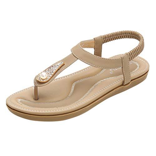 BaZhaHei Pearl Sandali Estivi Donna Eleganti Bassi,Moda Sandali Infradito Boemo Sandali Piatti da Spiaggia Roma Scarpe Casual Donna Estive (36-42)