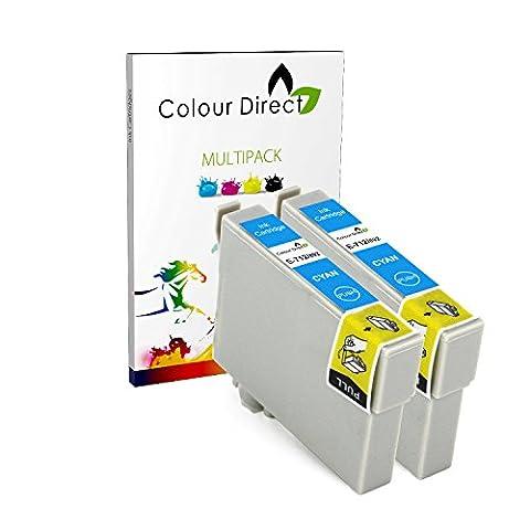 2 Cyan Colour Direct Compatible Cartouches d'encre T0712 - Remplacement