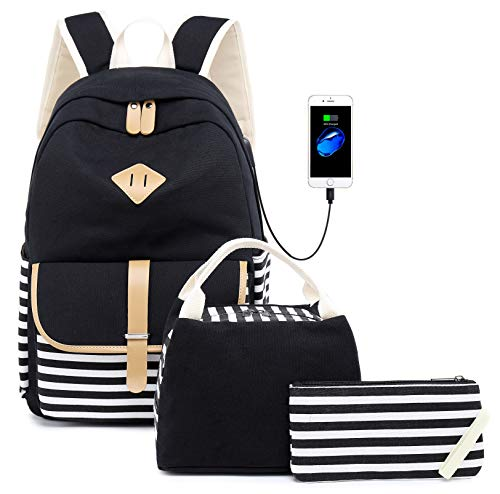 Netchain Schulrucksack Rucksack für Mädchen Schultasche Backpack Canvas Rucksack mit 15.6 Zoll, USB Charging Port (Schwarz-3)