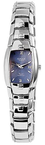 Omax Damen analog Armbanduhr mit Quarzwerk SS1623000315 Metallgehäuse mit Metall Armband in Silberfarbig und Clipverschluss Ziffernblattfarbe Blau Bandgesamtlänge 19 cm Armbandbreite 15 mm