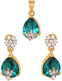 Pink Rose - Complement Collection Blue American Diamond Alloy Stone Pendant Set For Women (With Chain)
