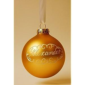 Weihnachtskugel mit Namen, Gold matt, Design Neo-Barock in Geschenkverpackung mit Sichtfenster