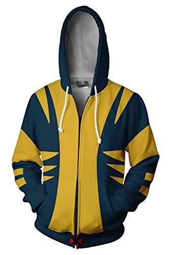 Men Wolverine Kostüm X - MingoTor Herren Damen X-Men Wolverine Kapuzenjacke 3D Pullover mit Kapuze Sweatjacke Hoodie Cosplay Kostüm Unisex