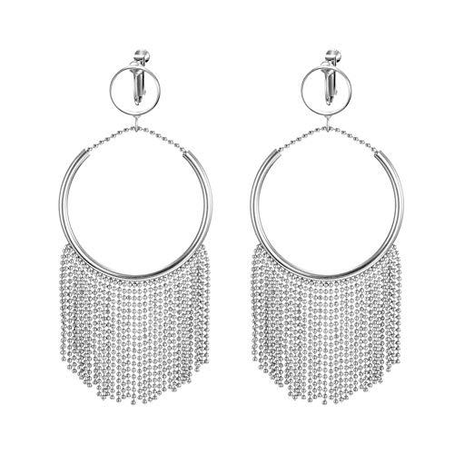 Z&HA Tassel Hoop Ohrringe für Frauen Mode, Ohrringe Jacken Dangle Drop Ketten silbernen Ton, Ohr-Clips ohne durchbohrte Ohren,Gold&EarClips