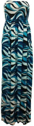 Damen Blumendruck Boobtube Sheering Maxi-Kleid neue Damen Scheren boobtube Maxi-Kleid Frauen trägerlosen lange Maxi gedruckt Sommerkleid Größ weiß und teal