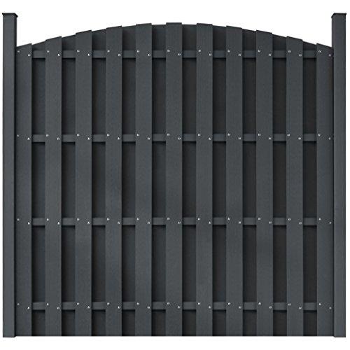 Zora Walter Panneau pour clôture gris arrondi en wPC clôture jardin Panneaux Clôture Clôture Aiuole accessoires clôture Kit Clôture extérieur