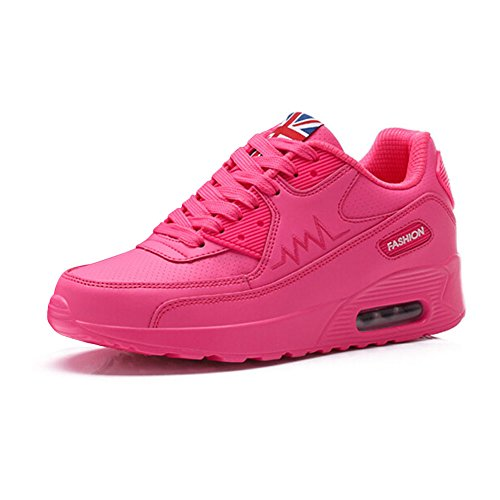 Kivors Baskets Compensée Femme Chaussures Sport Montante Sneakers Mode Air (38 EU, Rose)