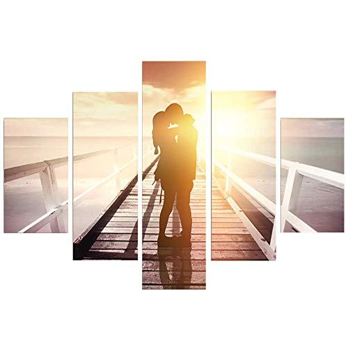 Wall Art Canvas Malerei Bild der romantischen Liebhaber ohne Rahmen 5 PCS Applicable Raum: Wohnzimmer, Schlafzimmer, Küche, Büro etc,20x35*2+20x45*2+20x55*1