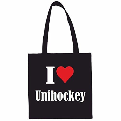 Sac à Bandoulière I Love Unihockey Shopping Bag Sac d'école Sac de Sport 38x 42cm en Noir ou Blanc.. Le cadeau parfait pour votre amoureux