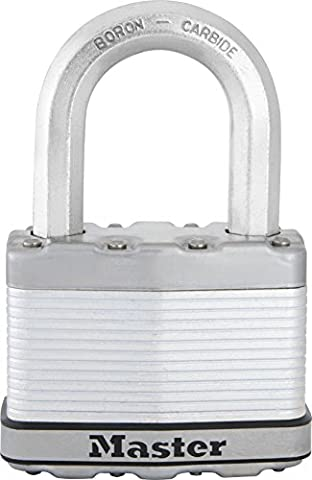 Master Lock High security padlock with outdoor protection, long shackle, keyed lock, 64mm wide body, ideal for securing gates