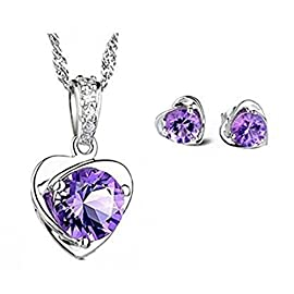 Sterling Silver Purple Austria Crystal Stud necklace and Earrings for Women Fashion Jewelry set