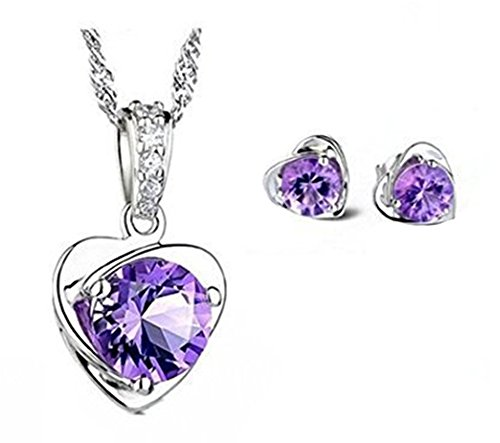 Price comparison product image Sterling Silver Purple Austria Crystal Stud necklace and Earrings for Women Fashion Jewelry set