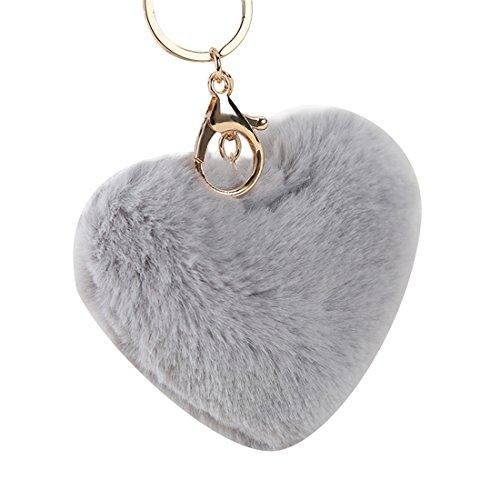 Ctgvh fashion love pom pom ball keychain fur ball borsetta ciondolo portachiavi auto carino regalo per donne fluffy accessori, grey, 10cm*12cm