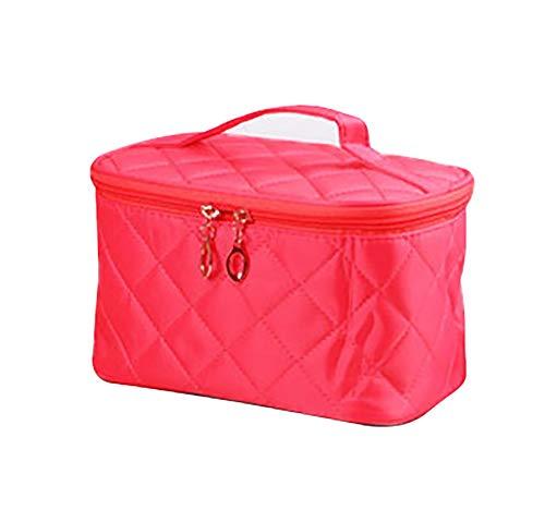 Sac de maquillage de voyage de grande capacité de stockage portatif de stockage de grande capacité de diamant de femme, sac de beauté, rose chaud