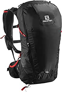 Salomon L37997100, Zaino Leggero da Escursionismo 30 l Peak 30 Unisex – Adulto, Nero/Rosso
