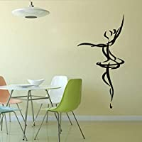 Olivialulu Ballerina Wall Sticker PVC Removable Adhesive Wall Stickers Home Decoration Dance Wall Art Wall Stickers 59 * 118Cm Color Size Can Be Customized