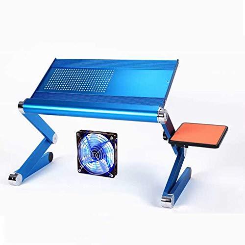 WFFH Computer Stand Desk, Belüfteter Laptop Stand Riser & Computer Desk - Multifunktionaler Verstellbarer Tragbarer Tisch, CPU-Lüfter Und Mauspad-Bettablage Aufstehen/Sitzen -
