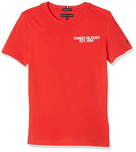 Tommy Hilfiger Jungen Essential Class. Graphic Tee S/S T-Shirt, Rot (Flame Scarlet 633), 122 (Herstellergröße: 7)