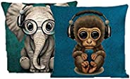 "STITCHNEST Jute Monkey and Elephant Digitally Printed Combo Cushion Cover - 16"" x 16"", Turquoise and"
