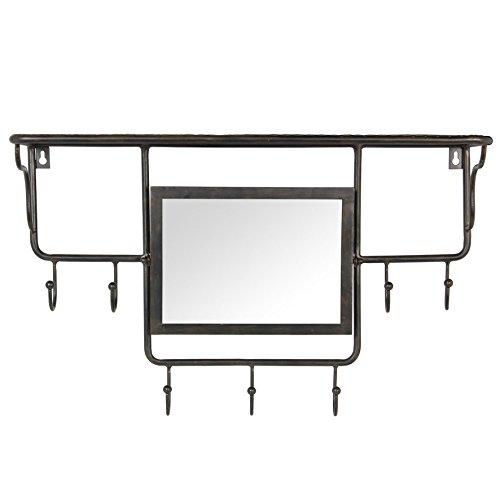 Côté Table 24432 Indus Miroir Porte-Manteau Fer/Bois MDF/Verre Noir 60 x 18 x 38 cm