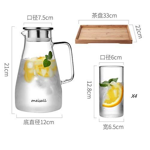 SGXDM Kaltwasserflasche Zitrone zum Kühlen kaltes Weißwasserflaschenglas hitzebeständiger explosionssicherer Haushalts-Topf-Set mit hoher Kapazität, Q1500ml