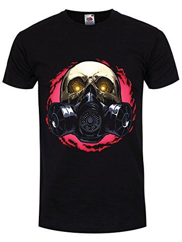 T-Shirt Gas Mask Skull da uomo in nero