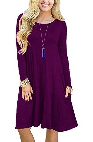 8665a51cdd2b NELIUYA Womens Long Sleeve Casual Swing Dresses Flare Midi Dress Knee  Length.