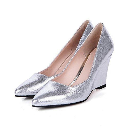 balamasa pour femme à enfiler pointed-toe imitation cuir pumps-shoes silver