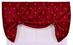 Ellis Curtain Fleur Di Lis Faux Silk Lined Tie-Up Valance Window Curtain, Red
