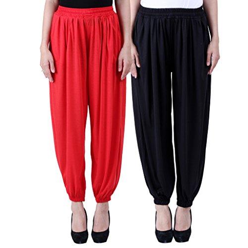 NumBrave Solid Viscose Red & Black Harem Pants Combos of 2