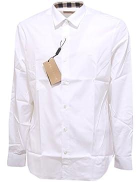 Burberry camicia uomo maniche lunghe nuova cambridge bianco