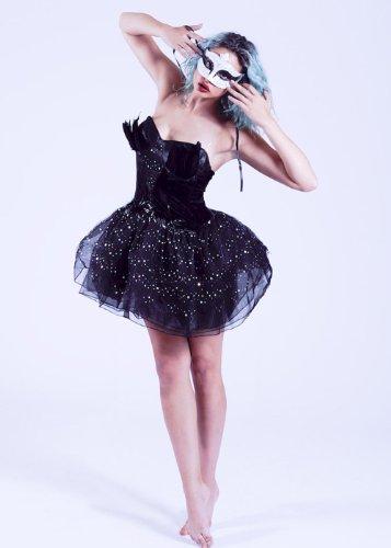 hic Ballerina Schwarz Schwan Kostüm Medium (UK 12-14) (Gothic Ballerina Halloween-kostüm)