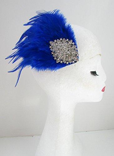Bibi à plumes Bleu & Argent Bandeau Races Diamante Pince à cheveux vintage Y43 * * * * * * * * exclusivement vendu par – Beauté * * * * * * * *