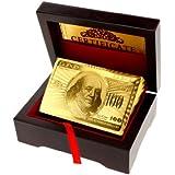 Mazzo di carte tascabili, placcatura in oro 24K, purezza 99,9%, confezione regalo Deluxe di legno