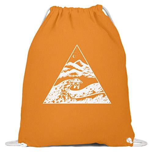 generisch Die Welle vor Kanagawa - Kunst Cooles Shirt Malerei Bild Tsunami Japan Kunst Geographie - Baumwoll Gymsac -37cm-46cm-Orange