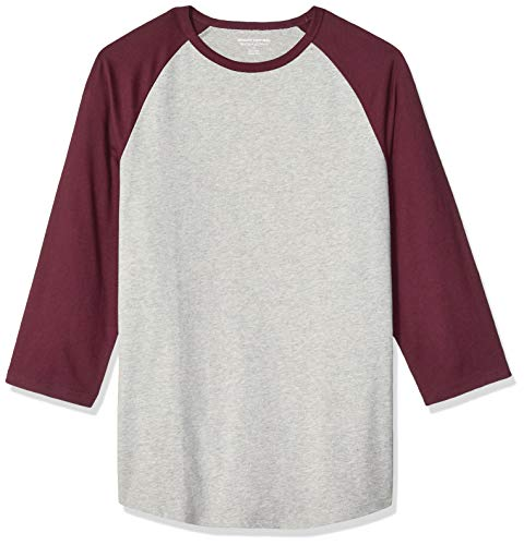 Amazon Essentials Slim-Fit 3/4 Sleeve Baseball fashion-t-shirts, Port/Light Gray Heather, US S (EU S)