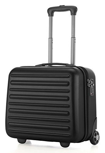 HAUPTSTADTKOFFER - Tegel - Pilotentrolley Hartschalenkoffer Koffer Handgepäck Trolley Rollkoffer, TSA, 38 cm, 32 Liter, Schwarz