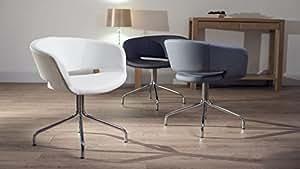 Mastic en similicuir Gris et Chrome Oria chaises pivotantes