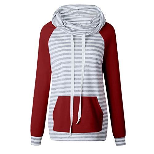 ZJSWCP Sweat-Shirt Women Col Sweatshirt Stripe Tops Shirts Tunic Long Sleeve Sweatshirt Women Hoodies Sudadera Mujer 10,XL